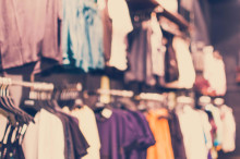 Vintage Style - blurred luxury clothing store in shopping mall